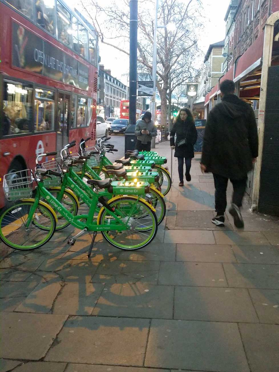 100's of LimeBikes dumped on the streets of Brent