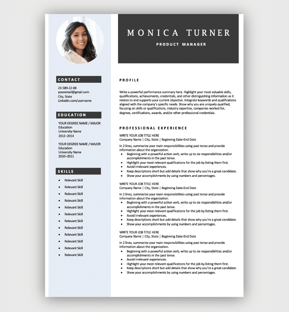 Every element is editable and resizable. Free Resume Templates For Microsoft Word Download Now