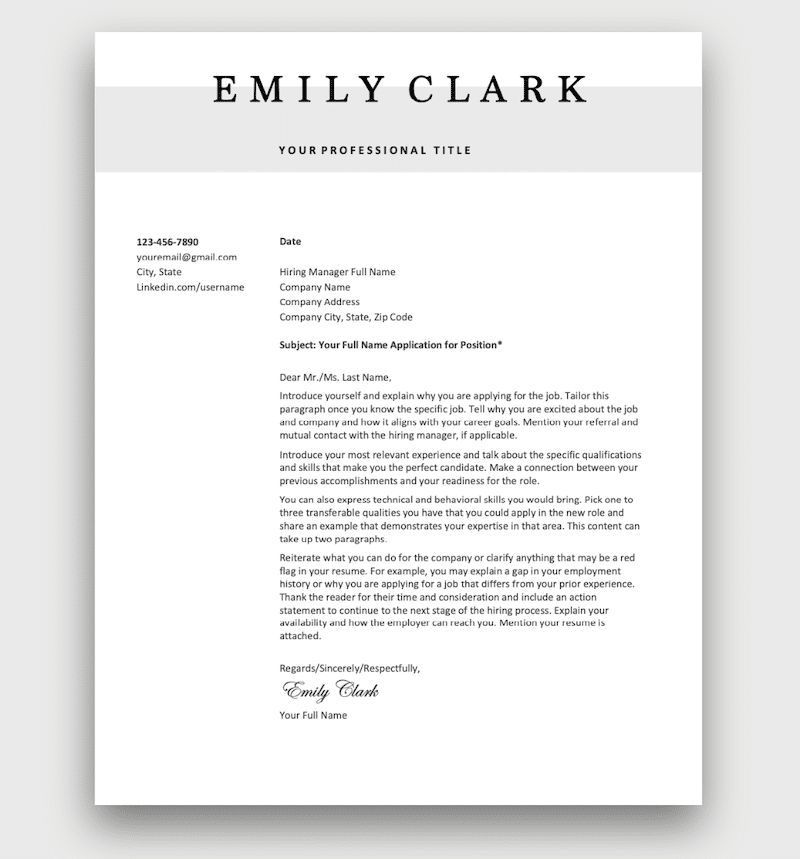 It's also universal enough for any kind of cover letter. Free Cover Letter Templates To Download
