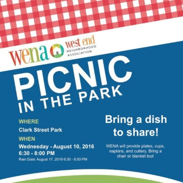 WENA Picnic in the Park – Aug 10 6:30PM
