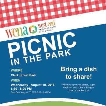 WENA Picnic in the Park – Aug 10 6:30PM