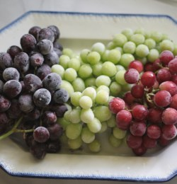 Red white blue sugared frozen grapes