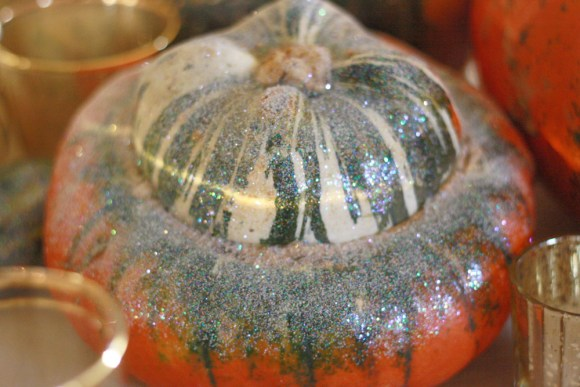 Thanksgiving Decorations Glitter Gourds