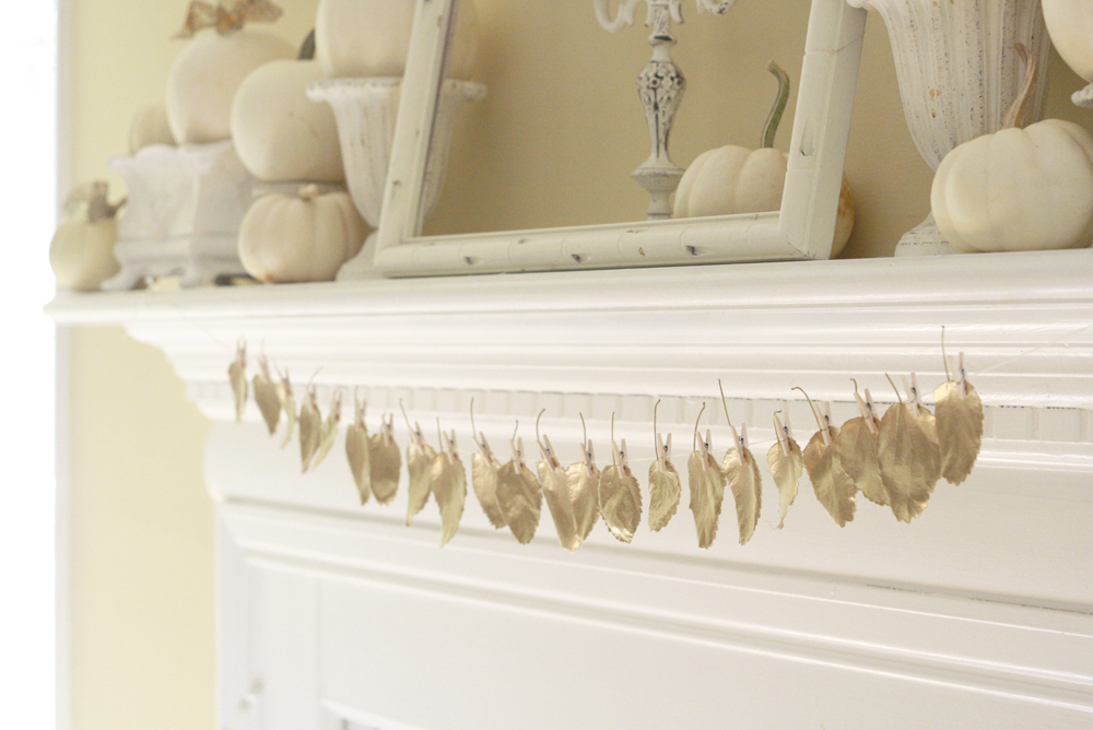 Thanksgiving Mantle Gold Leaf Garland