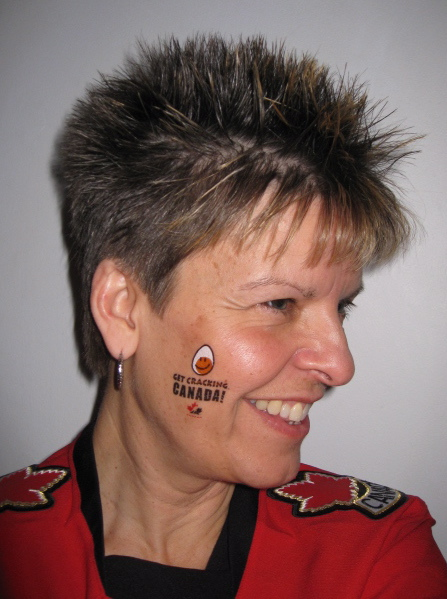 Modelling the Get Cracking Canada! tattoos we gave out at the World Junior Championship game on Dec. 28 in Ottawa