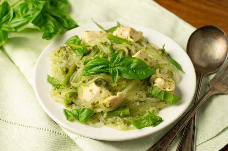 Chicken, asparagus, basil and garlic finished with some creaminess over glass noodles