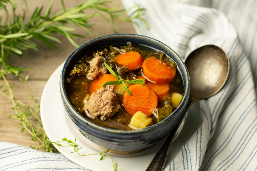 Turkey Vegetable Soup with rosemary and thyme