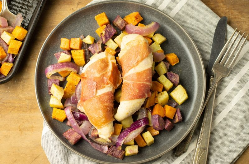 Prosciutto Chicken and Sweet Potatoes