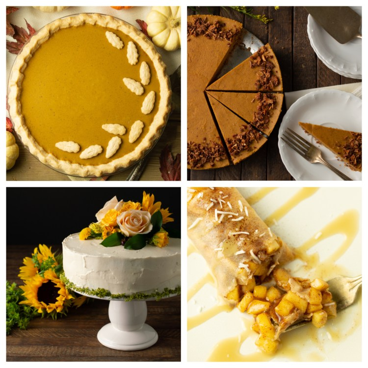 Collage of pumpkin pie, pumpkin spice cheesecake, carrot cake and apple enchiladas
