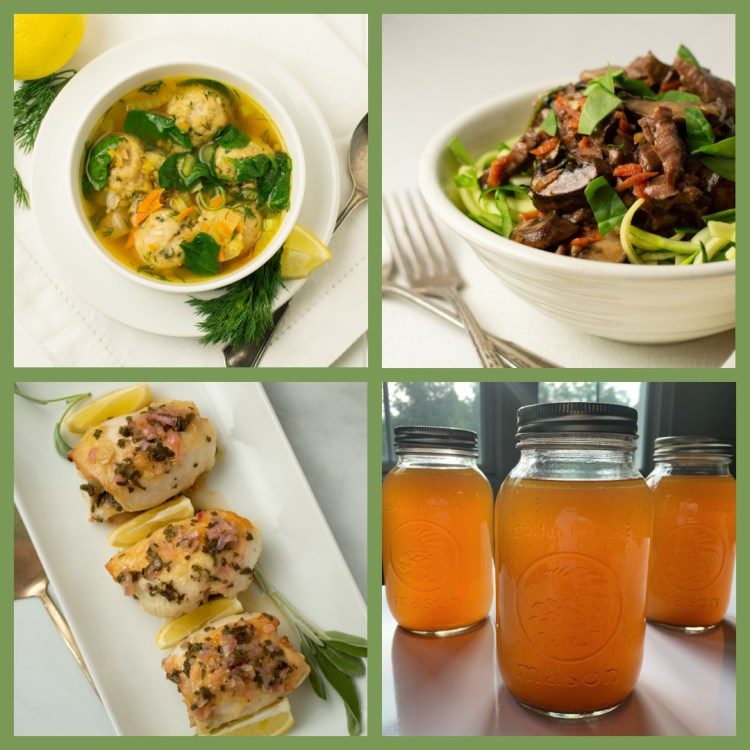 Collage of AIP recipes and bone broth
