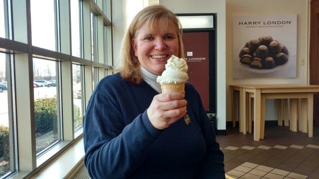 "Wendi enjoying a ""happy hour"" vanilla gelato cone."