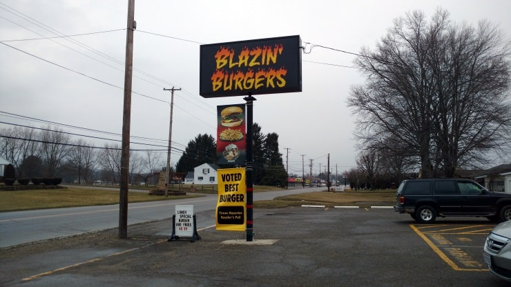 Blazin Burgers sign