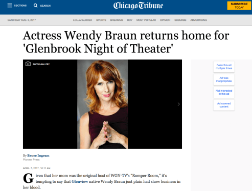 """Actress Wendy Braun Returns Home"""