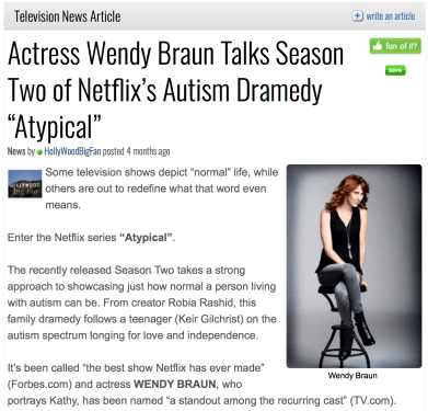 """Actress Wendy Braun Talks Season Two of Netflix's Autism Dramedy 'Atypical'"""