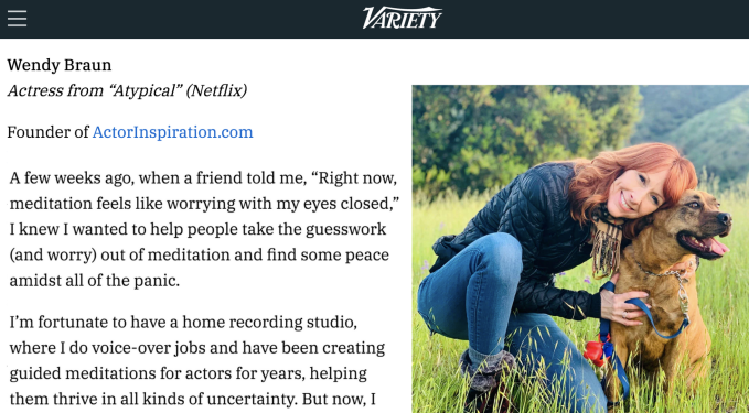 Thank you to Variety for featuring me (alongside Arianna Huffington) in their ongoing series.