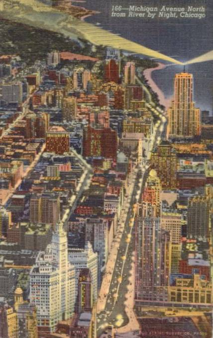 POSTCARD - CHICAGO - MICHIGAN AVE NORTH - AERIAL - NIGHT - 1945
