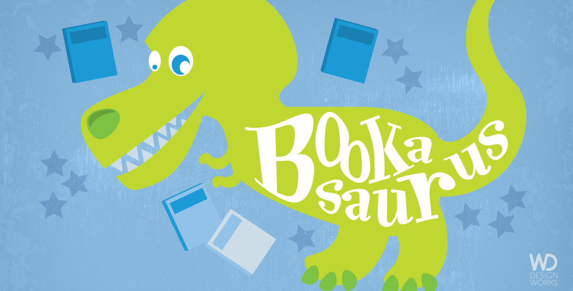 Cover design blog post header image with bookasaurus
