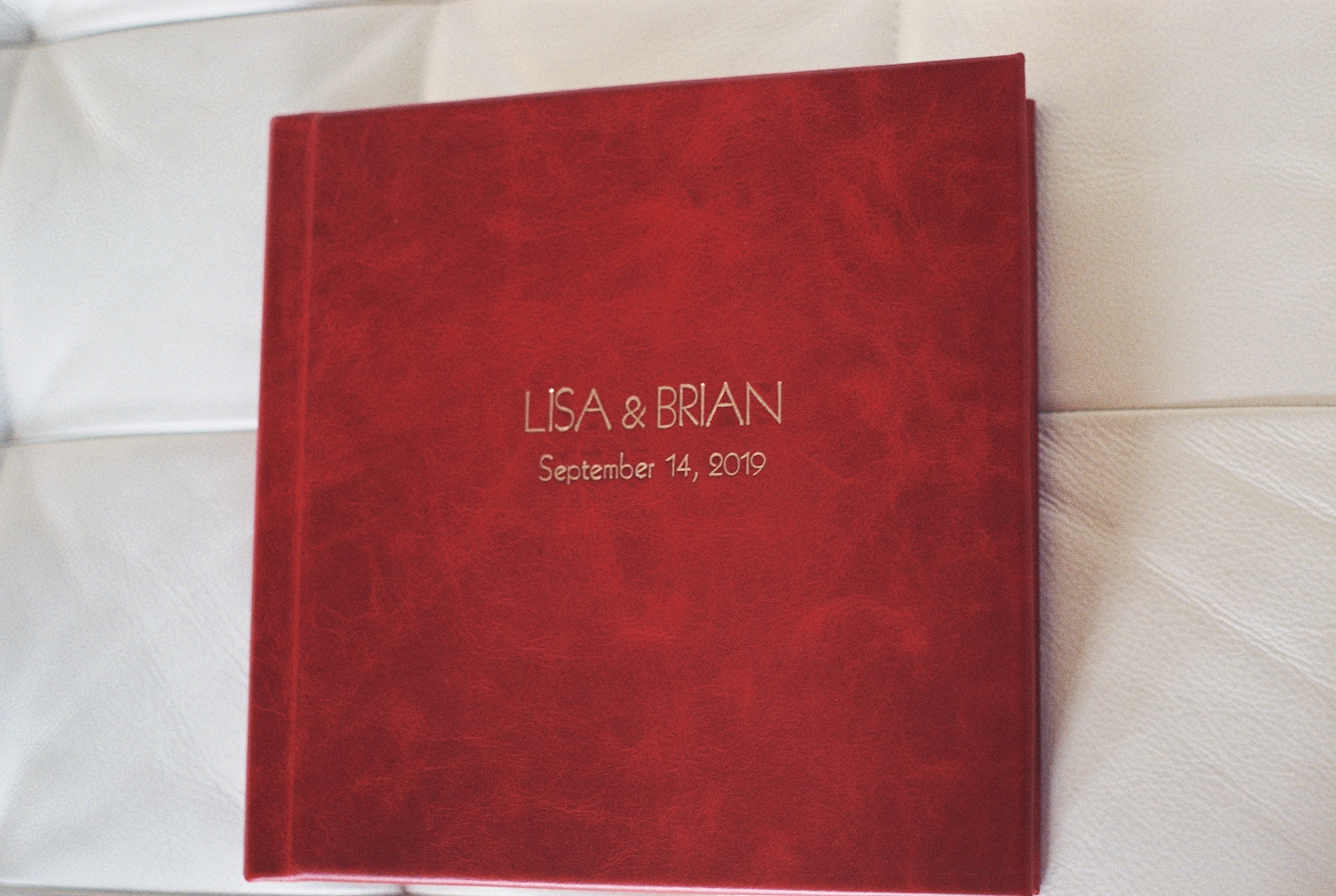 top wedding photo album by Leather Craftsmen imprinting on cover