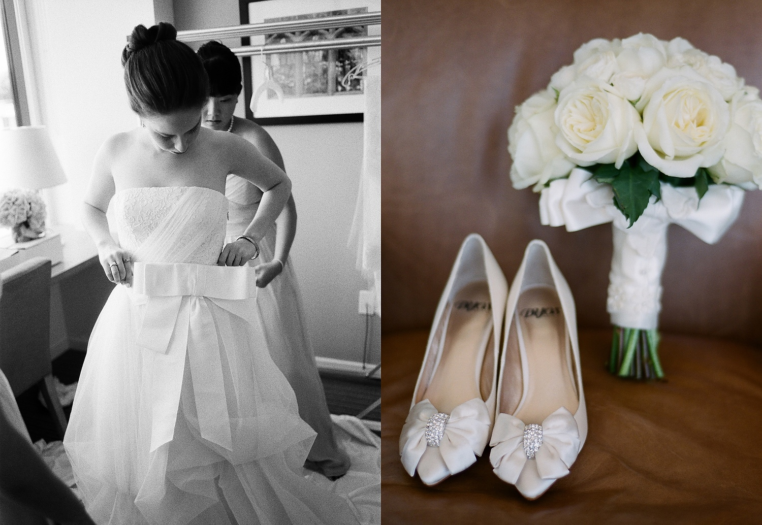yale wedding photographer bride getting dress with shoes and bouquet