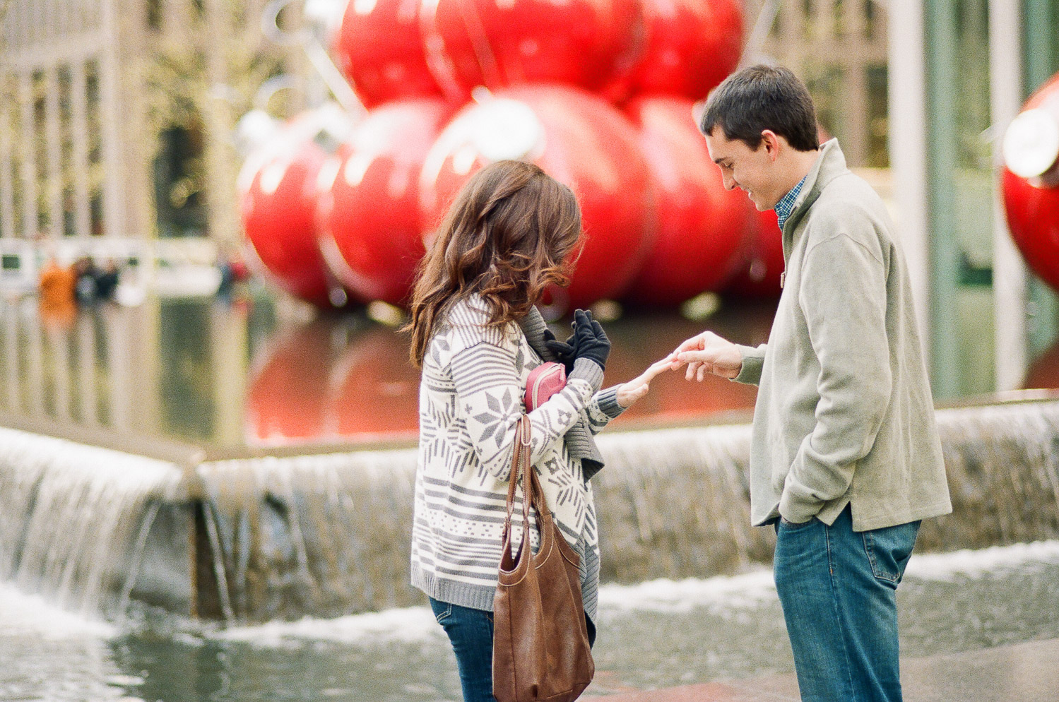 film photograph of surprise marriage proposal in new york city