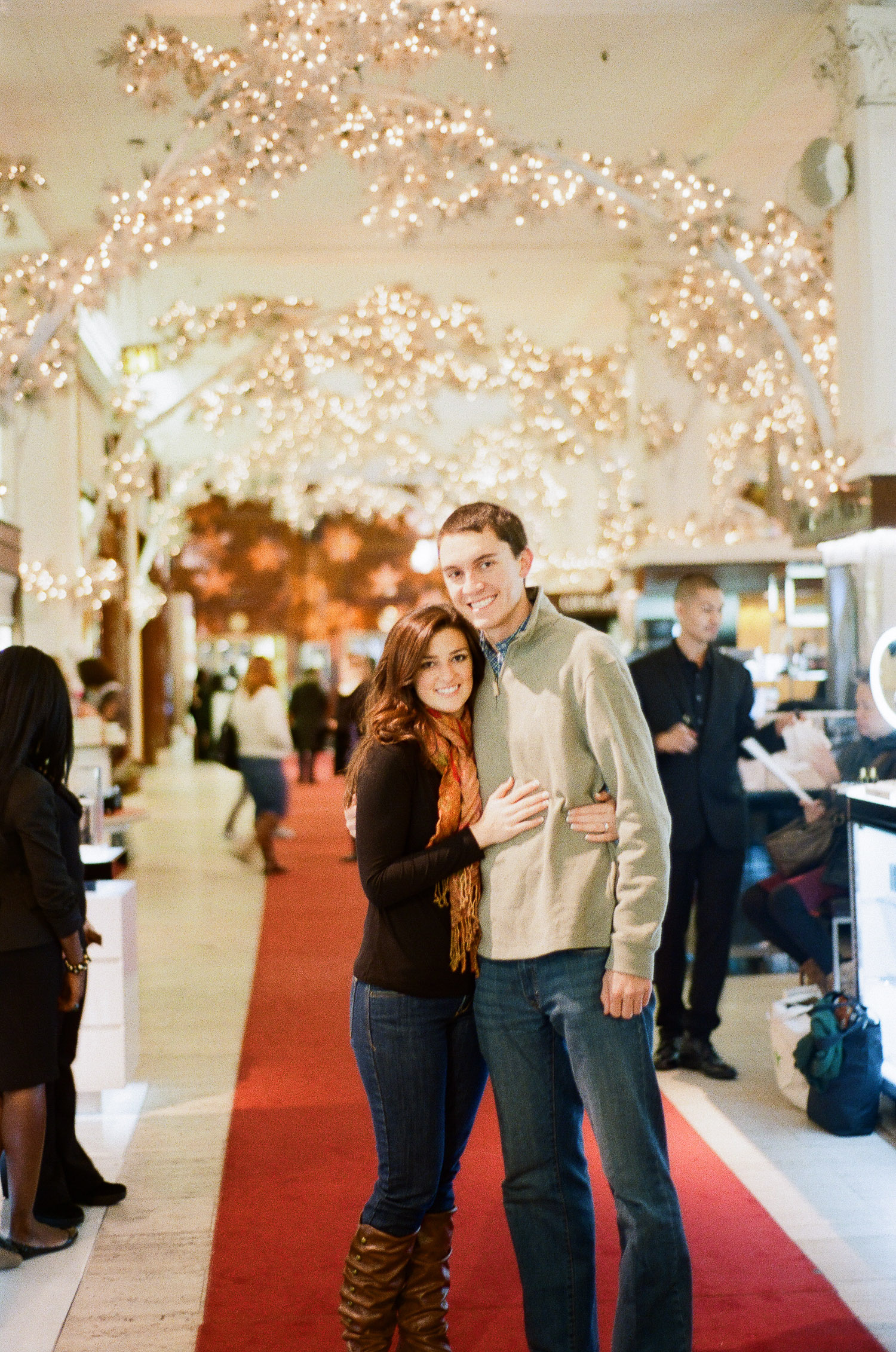 engaged couple in saks