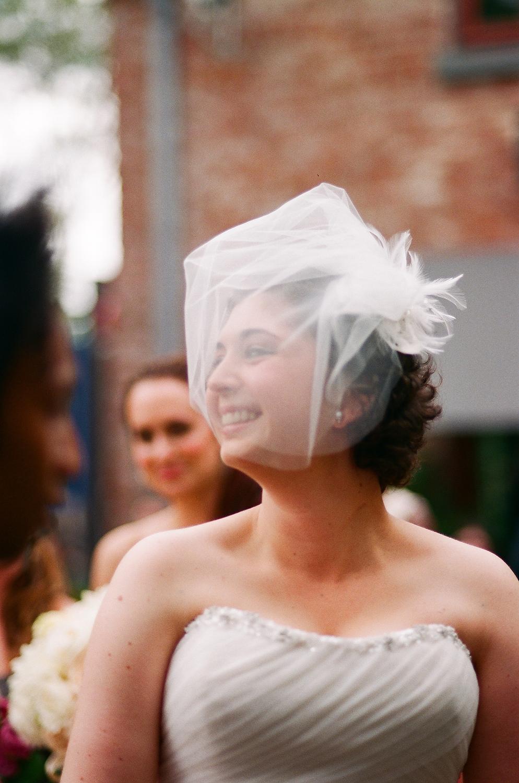 ny wedding bride smiling