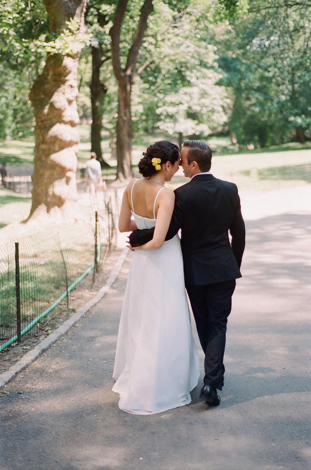 film photo of elopement in central park
