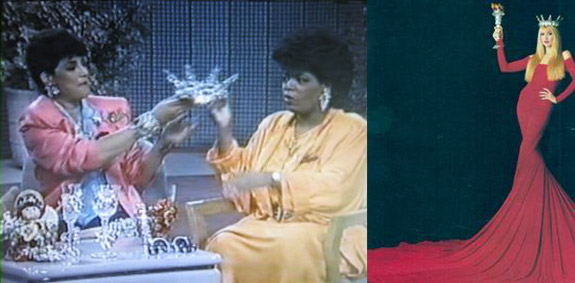 Wendy and Oprah look at a spectacular tiara by Wendy Gell, and on the right, the same tiara worn by supermodel Jerry Hall in a style that makes her look like the statue of Liberty in a red dress.
