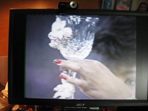Oprah inspects a Custom Adorned Wedding Goblet by Wendy Gell on the same show where Wendy's bridal jewelry suite was featured