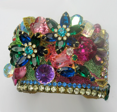 Jeweled Flower Garden Wristy Cuff Bracelet, Fashion Jewelry Design by Wendy Gell