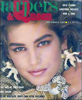 Cindy Crawford in Wendy Gell Cherub earrings on the cover of Harpers and Queen in Great Britain.