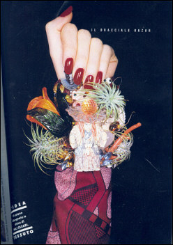 A wonderful page in Doina Magazine with a cuff that had live Bromiliad plants, a Netsuke, coral, and a glass flower from Murano, Italy.