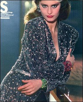 Brightly colored cuffs by Wendy Gell worn by model in fashion magazine