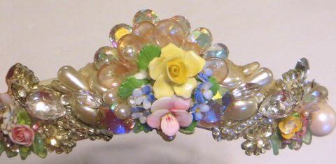 Bridal Tiara with Porcelain Flowers, by renowned Fashion Jewelry Designer Wendy Gell