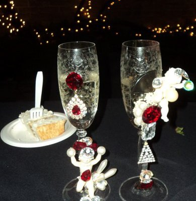 These custom bridal goblets were a special order created by Wendy Gell. She can create a special pair of goblets for your own wedding celebration - contact her to learn more!