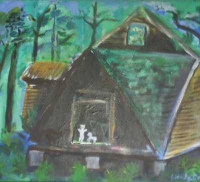 House in the Woods, original oil painting, Gelastic Art by Wendy Gell