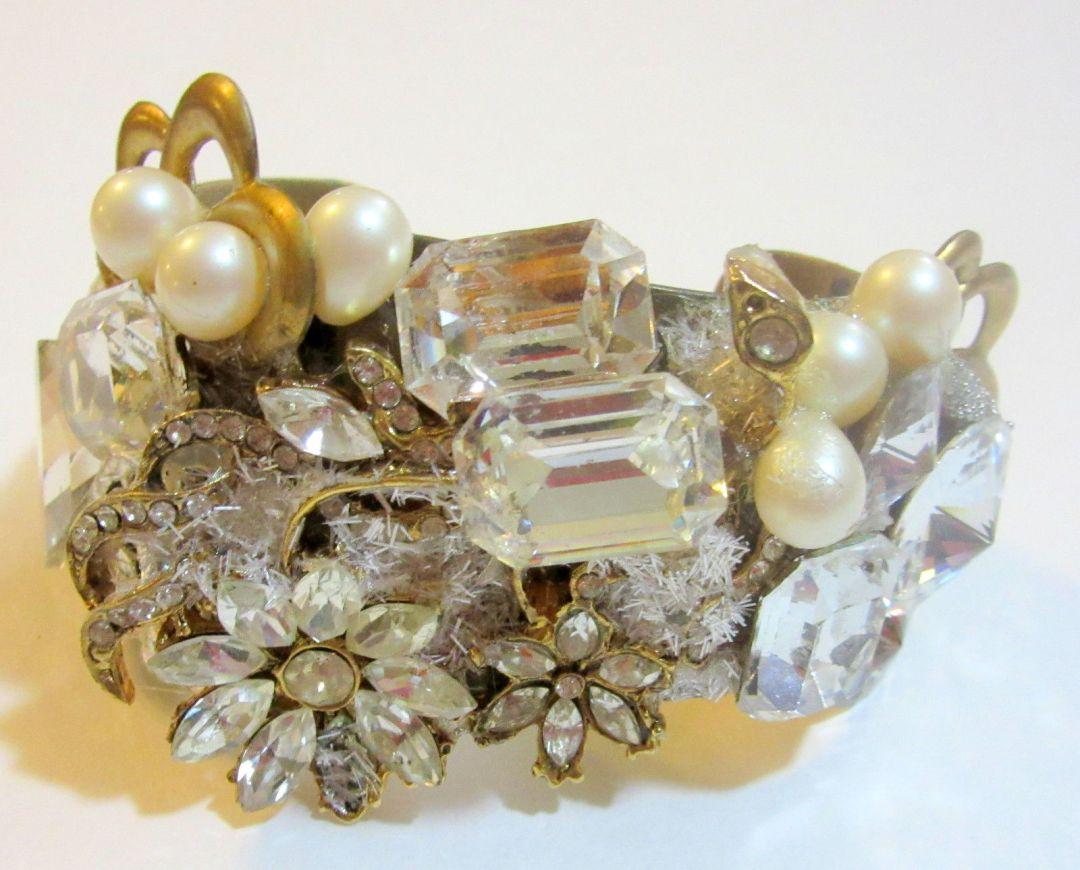 Sparkling bridal wristy cuff bracelet by fashion jewelry designer Wendy Gell