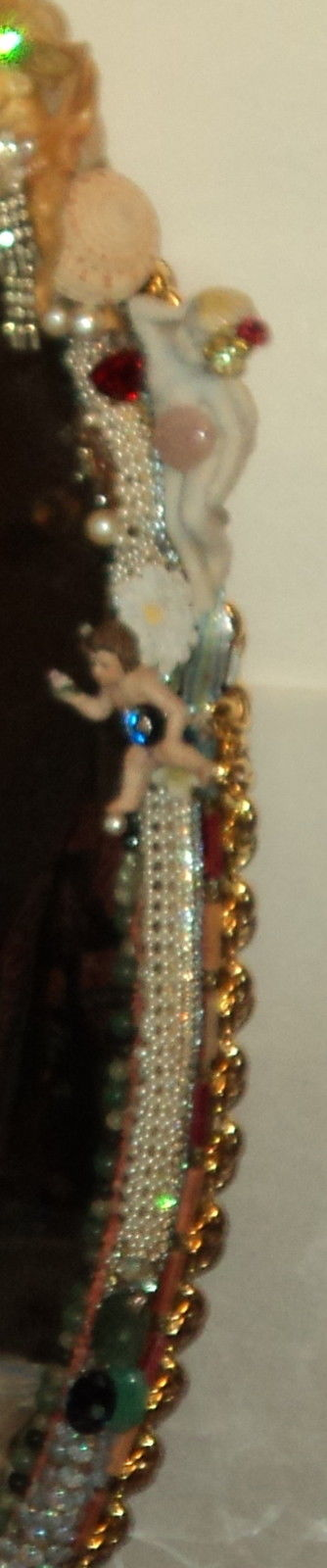 """3' 4"""" tall oval Magical Jeweled Mirror, insanely encrusted with cherubs, angels, jewels, pearls, and more by fashion jewelry designer Wendy Gell. Detail shot #5"""