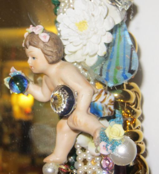 "3' 4"" tall oval Magical Jeweled Mirror, insanely encrusted with cherubs, angels, jewels, pearls, and more by fashion jewelry designer Wendy Gell. Detail shot #7"