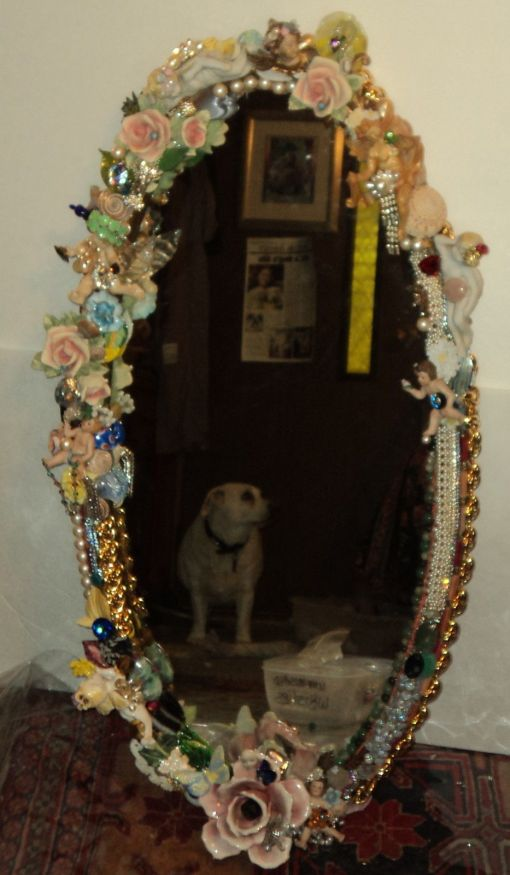 """3' 4"""" tall oval Magical Jeweled Mirror, insanely encrusted with cherubs, angels, jewels, pearls, and more by fashion jewelry designer Wendy Gell"""