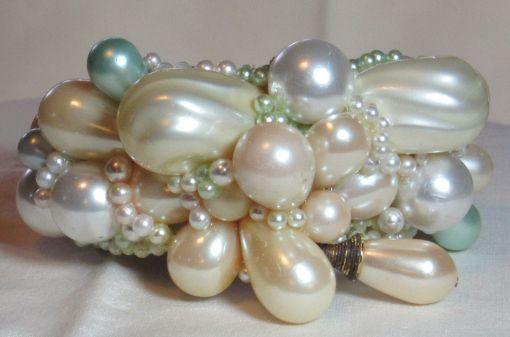 Pop Art Pearl Cuff Bracelet Bridal Wristy by fashion jewelry designer Wendy Gell