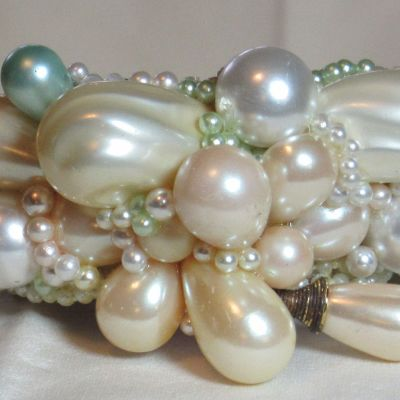 Pop Art Pearl Cuff Bracelet Bridal Wristy by fashion jewelry designer Wendy Gell