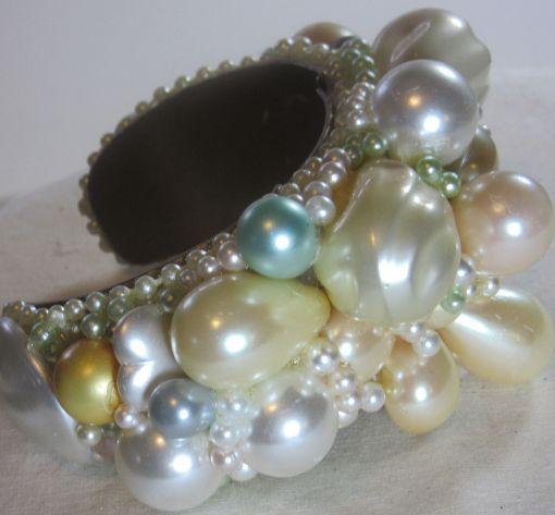 Pop Art Pearl Cuff Bracelet Bridal Wristy by fashion jewelry designer Wendy Gell - detail 1