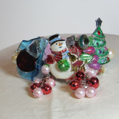 Snowman with Christmass TREet Wristy Cuff Bracelet by fashion jewelry designer Wendy Gell
