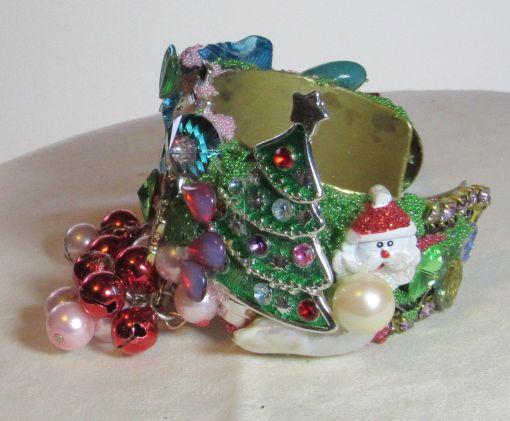 Snowman with Christmass TREet Wristy Cuff Bracelet by fashion jewelry designer Wendy Gell, detail 1