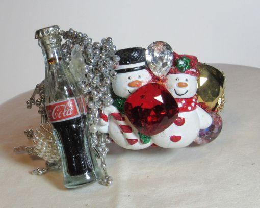 Happy Snowmen with Coke wristy pop art cuff bracelet byfashion jewelry designer Wendy Gell