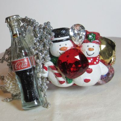 Happy Snowmen with Coke wristy pop art cuff bracelet byfashion jewelry designer Wendy Gell