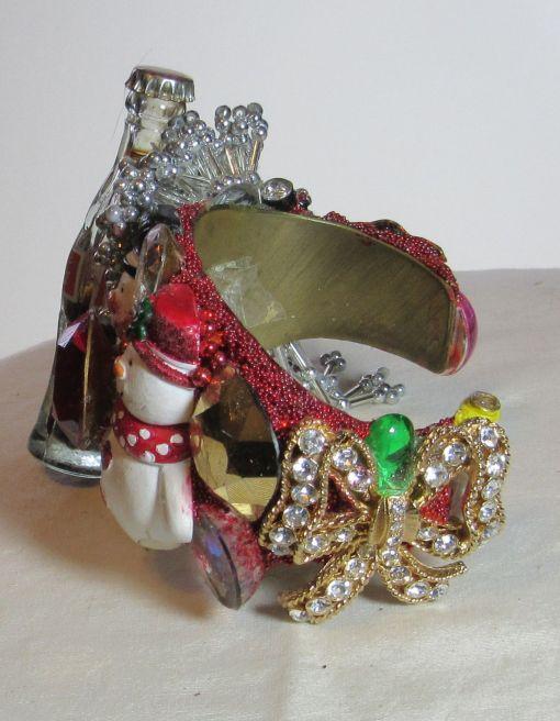 Happy Snowmen with Coke wristy pop art cuff bracelet by fashion jewelry designer Wendy Gell, detail 1