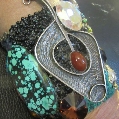 Vintage Silver Turquoise Cuff Bracelet with salamander by fashion jewelry designer Wendy Gell, 1985