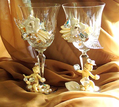 White Wedding Goblets, custom WEdding Accessories by Fashion Jewelry Artist Wendy Gell